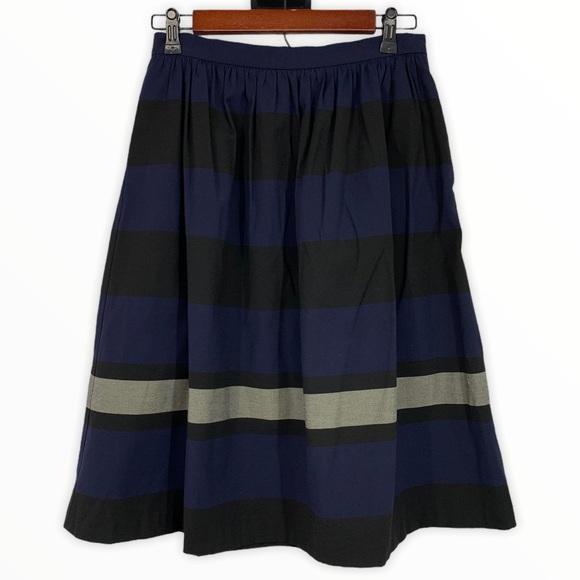 Zara Blue Black Stripe A Line High Waist Skirt